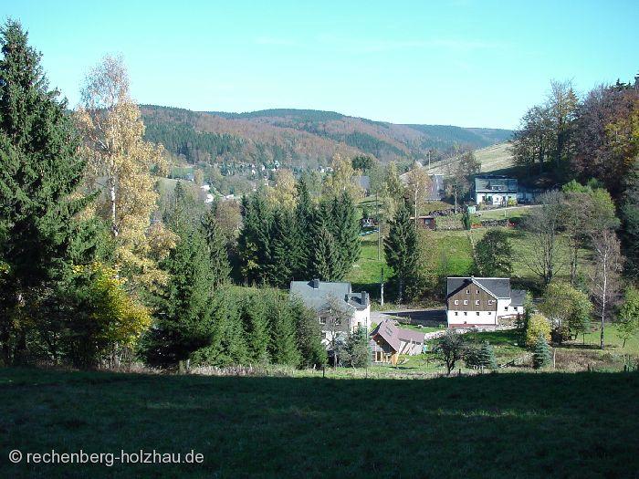 """Blick von der """"Goldenen Höhe"""" auf Rechenberg und Holzhau"""