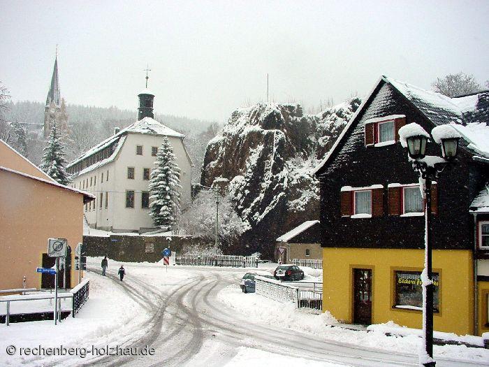 Marktplatz mit Rathaus in Rechenberg