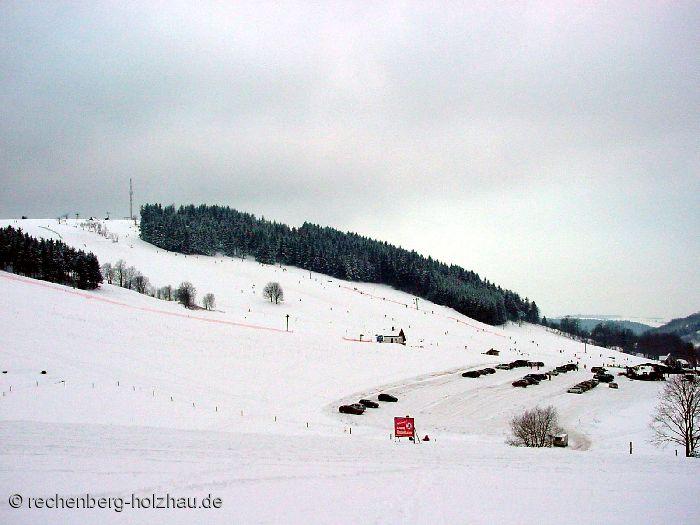 Blick auf das Skigebiet Holzhau